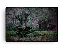 Neon Farmstead with Wagon Canvas Print