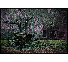 Neon Farmstead with Wagon Photographic Print