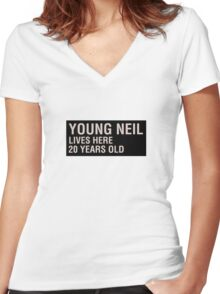 Scott Pilgrim - Young Neil's Name Card Women's Fitted V-Neck T-Shirt