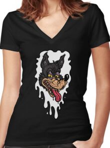 Big Bad Slobber Wolf Women's Fitted V-Neck T-Shirt