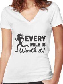 Every Mile is Worth It Women's Fitted V-Neck T-Shirt