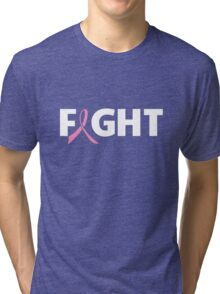 Fight Ribbon for Breast Cancer Tri-blend T-Shirt
