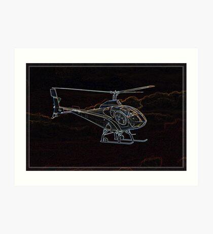 Neon Helicopter, in Flight Art Print