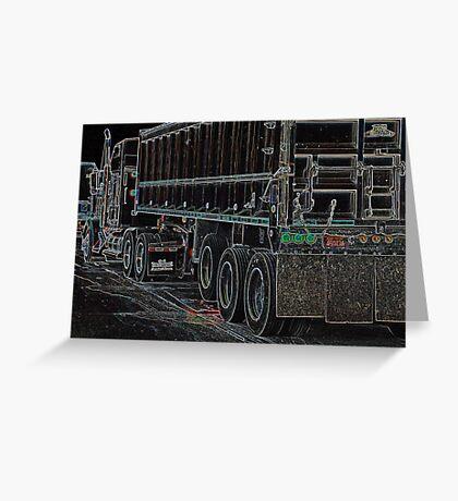 Neon Semi at Truck Stop Greeting Card