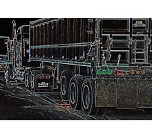 Neon Semi at Truck Stop Photographic Print