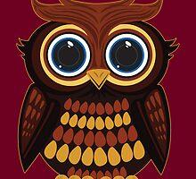 Friendly Owl - Dark Red by Adamzworld