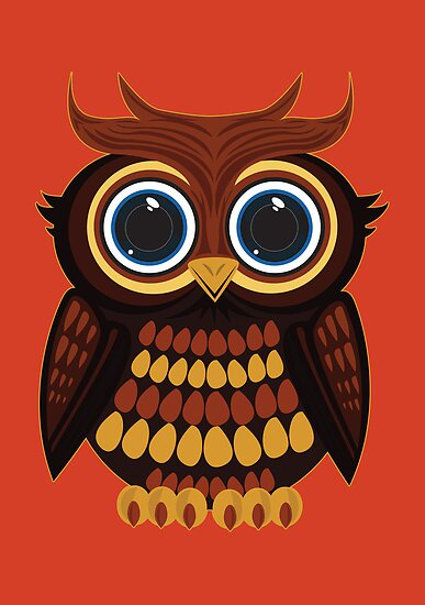 Friendly Owl - Orange by Adamzworld