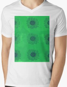 Sunflowers in Green Mens V-Neck T-Shirt