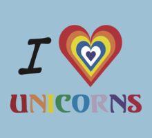 I Love Unicorns (T-Shirt & Sticker) Kids Tee