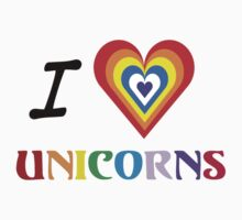 I Love Unicorns (T-Shirt & Sticker) Kids Clothes