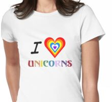 I Love Unicorns (T-Shirt & Sticker) Womens Fitted T-Shirt