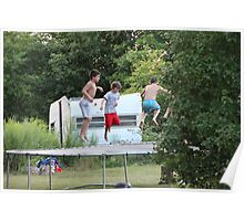 boys jumping on trampoline Poster