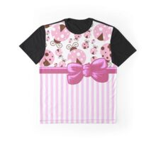 Ribbon, Bow, Ladybugs, Stripes - Pink Brown Graphic T-Shirt