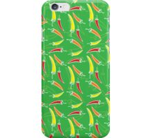 Chilli, chillies in colors with green background iPhone Case/Skin