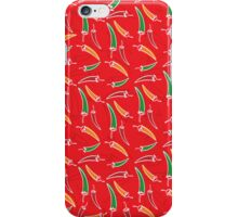 Chilli, chillies in colors with red background iPhone Case/Skin