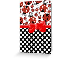 Ribbon, Bow, Ladybugs, Polka Dots - Red Black Greeting Card