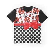 Ribbon, Bow, Ladybugs, Polka Dots - Red Black Graphic T-Shirt