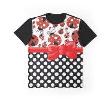Ribbon, Bow, Ladybugs, Polka Dots - Red Black Graphic T-Shirt
