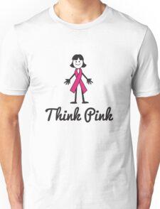 Think Pink Ribbon Person Unisex T-Shirt