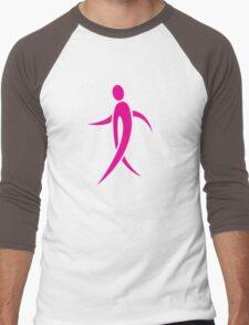Pink Ribbon Person Men's Baseball ¾ T-Shirt