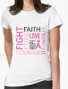 Breast Cancer Words Womens Fitted T-Shirt