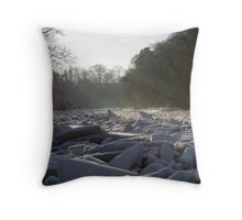 Icy blocks in the River Ayr Throw Pillow