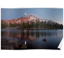 Moonrise over Mount Jefferson Poster