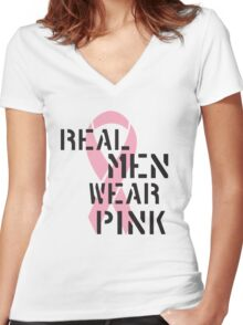 Real Men Wear Pink Ribbon Women's Fitted V-Neck T-Shirt