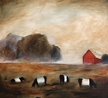 Cows and Barn Painting by clairewhitehead