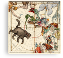 Ursa Major, Ursa Minor, Perseus, Hercules, Cassiopea, Andromeda And Other Constellations Canvas Print