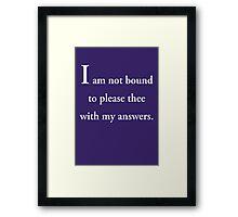Shakespeare's Wisdom Framed Print
