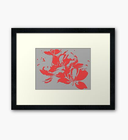 Red textured flowers. Framed Print