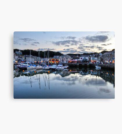 Dusk Over a Cornish Harbour Canvas Print