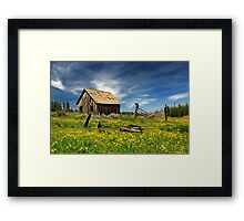 Cabin In A Field Of Flowers Framed Print