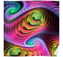 Colourful Spirals, abstract fractal art Poster