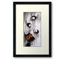 Stressie Cat and the crows Framed Print