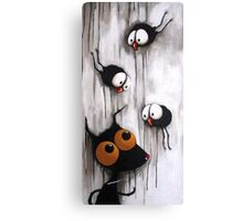 Stressie Cat and the crows Canvas Print