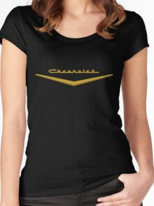 1957 Chevrolet Hood Script Women's Fitted Scoop T-Shirt