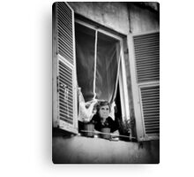 Old Lady in the Window   Lucca Italy Canvas Print