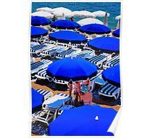 French Riviera Umbrellas Poster
