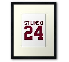 Stiles Stilinski's Jersey - maroon/red text Framed Print