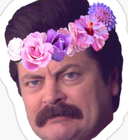 Ron Swanson Flowercrown Sticker