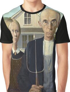 Iconic American Gothic by Grant Wood Graphic T-Shirt
