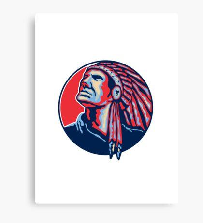 Native American Indian Chief Retro Canvas Print