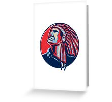 Native American Indian Chief Retro Greeting Card