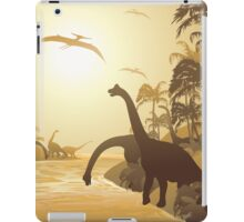 Dinosaurs on Tropical Jurassic Landscape iPad Case/Skin