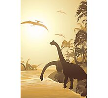 Dinosaurs on Tropical Jurassic Landscape Photographic Print