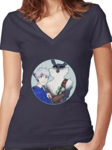 Rise of the Guardians - Jack Frost and Bunnymund the Easter Bunny Women's Fitted V-Neck T-Shirt
