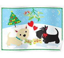 Westie and Scottie under the Mistletoe Poster