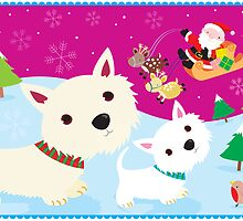 Westies and Santa Claus by BonniePortraits